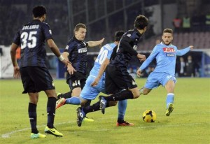 Napoli's Mertens shoots to score against Inter Milan during their Italian Serie A match at San Paolo stadium in Naples