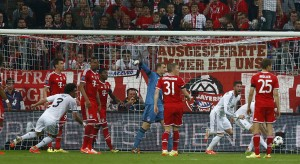 Real Madrid's Ramos (2nd R) celebrates his second goal against Bayern Munich during their Champions League semi-final second leg soccer match in Munich