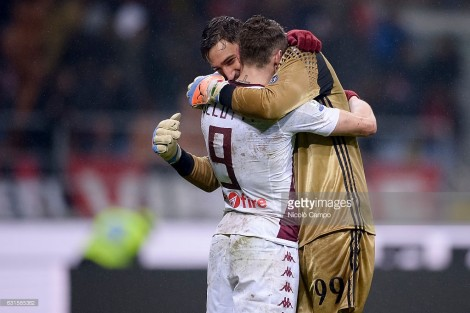 GIUSEPPE MEAZZA STADIUM, MILAN, ITALY - 2017/01/12: Andrea Belotti (left) of Torino FC and Gianluigi Donnarumma of AC Milan hug at the end of the Tim Cup football match between AC Milan and Torino FC. AC Milan wins 2-1 over Torino FC. (Photo by Nicolò Campo/LightRocket via Getty Images)
