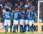 Serie A Roma v Napoli Napoli players celebrating at Olimpico Stadium in Rome, Italy on October 14, 2017. Photo Matteo Ciambelli / NurPhoto