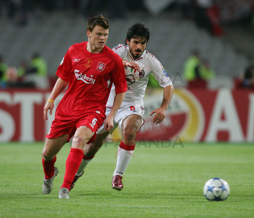 ISTANBUL, TURKEY - WEDNESDAY, MAY 25th, 2005: Liverpool's John Arne Riise and AC Milan's Gattuso during the UEFA Champions League Final at the Ataturk Olympic Stadium, Istanbul. (Pic by David Rawcliffe/Propaganda)