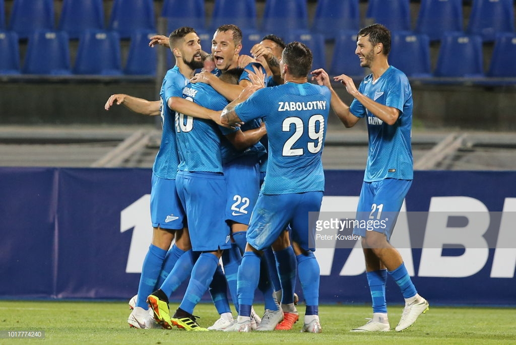 ST PETERSBURG, RUSSIA - AUGUST 16, 2018: Zenit St Petersburg's players celebrate scoring in the 2018/19 UEFA Europa League third qualifying round Leg 2 match against Dinamo Minsk at Petrovsky Stadium. Peter Kovalev/TASS (Photo by Peter KovalevTASS via Getty Images)