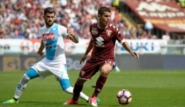 Iago Falque (R) of Torino FC competes with Elseid Hysaj of