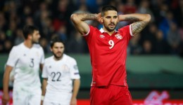 BELGRADE, SERBIA - OCTOBER 09: Aleksandar Mitrovic (R) of Serbia reacts during the FIFA 2018 World Cup Qualifier between Serbia and Georgia at stadium Rajko Mitic on October 9, 2017 in Belgrade. (Photo by Srdjan Stevanovic/Getty Images)