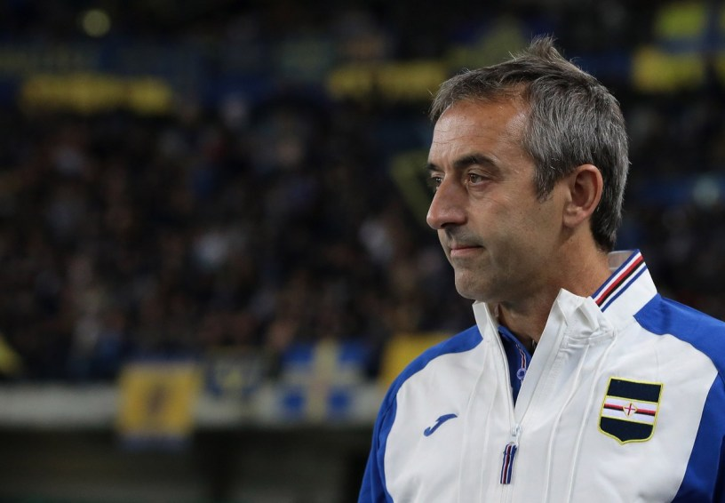VERONA, ITALY - SEPTEMBER 20:  UC Sampdoria coach Marco Giampaolo looks on before the Serie A match between Hellas Verona FC and UC Sampdoria at Stadio Marc'Antonio Bentegodi on September 20, 2017 in Verona, Italy.  (Photo by Emilio Andreoli/Getty Images)