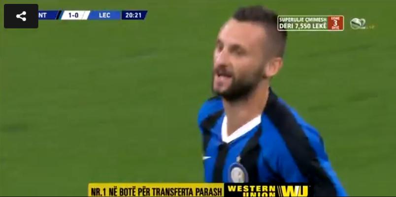 LIVE  Inter Leçe  Perlë nga Brozoviç dhe e djathta e Sensit   shpërthejnë  lojtarët zikaltër