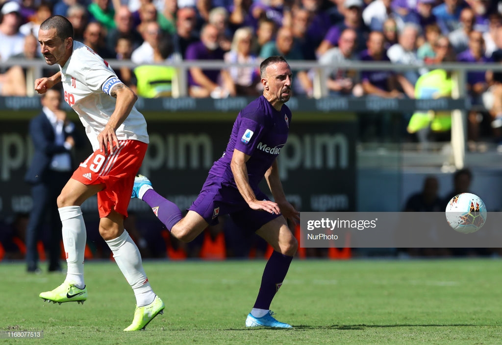 Franck Ribery of Fiorentina and Leonardo Bonucci of Juventus during the Serie A match Fiorentina v Juventus at the Artemio Franchi Stadium in Florence, Italy on September 14, 2019 (Photo by Matteo Ciambelli/NurPhoto via Getty Images)