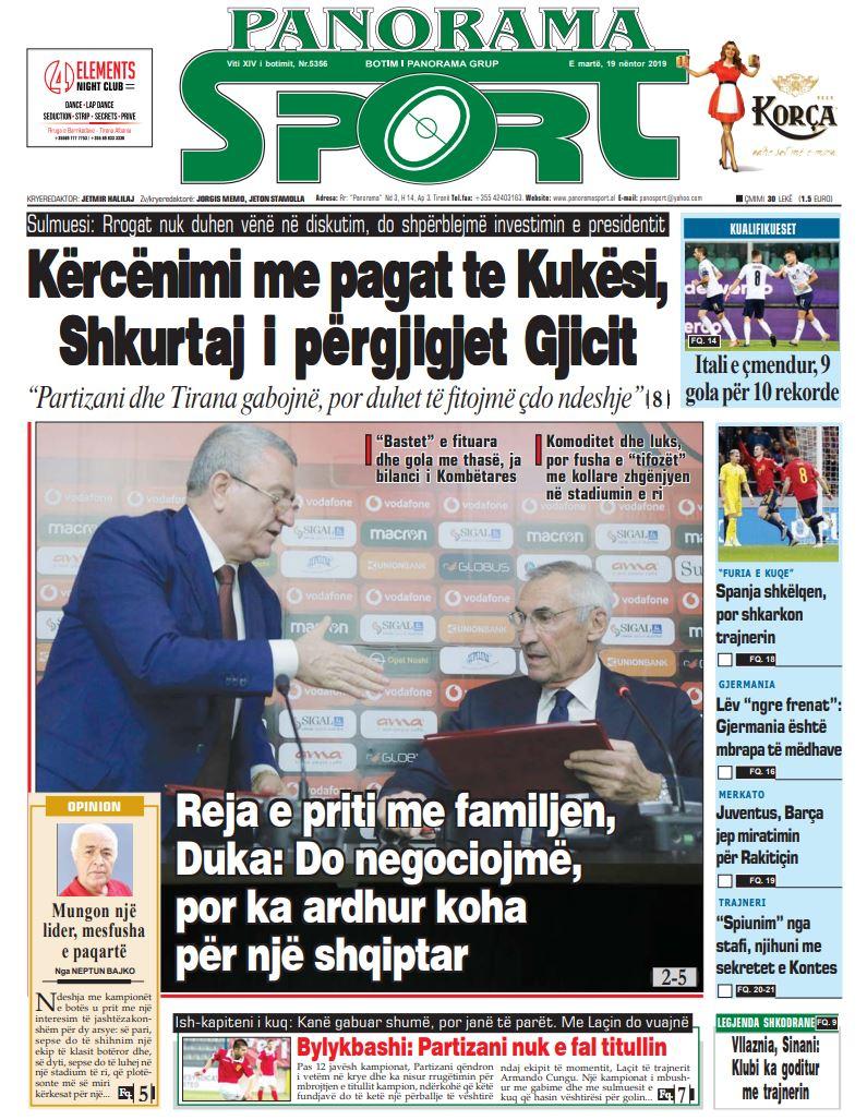 19 nentor 2019 faqja e pare e Panorama Sport