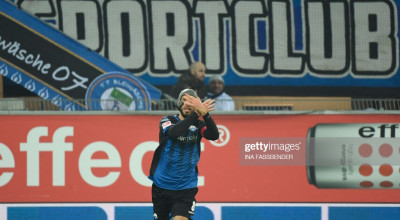 Paderborn's German midfielder Klaus Gjasula celebrates a goal during the German first division Bundesliga football match SC Paderborn 07 vs RB Leipzig in Padeborn, western Germany on November 30, 2019. (Photo by INA FASSBENDER / AFP) / RESTRICTIONS: DFL REGULATIONS PROHIBIT ANY USE OF PHOTOGRAPHS AS IMAGE SEQUENCES AND/OR QUASI-VIDEO (Photo by INA FASSBENDER/AFP via Getty Images)