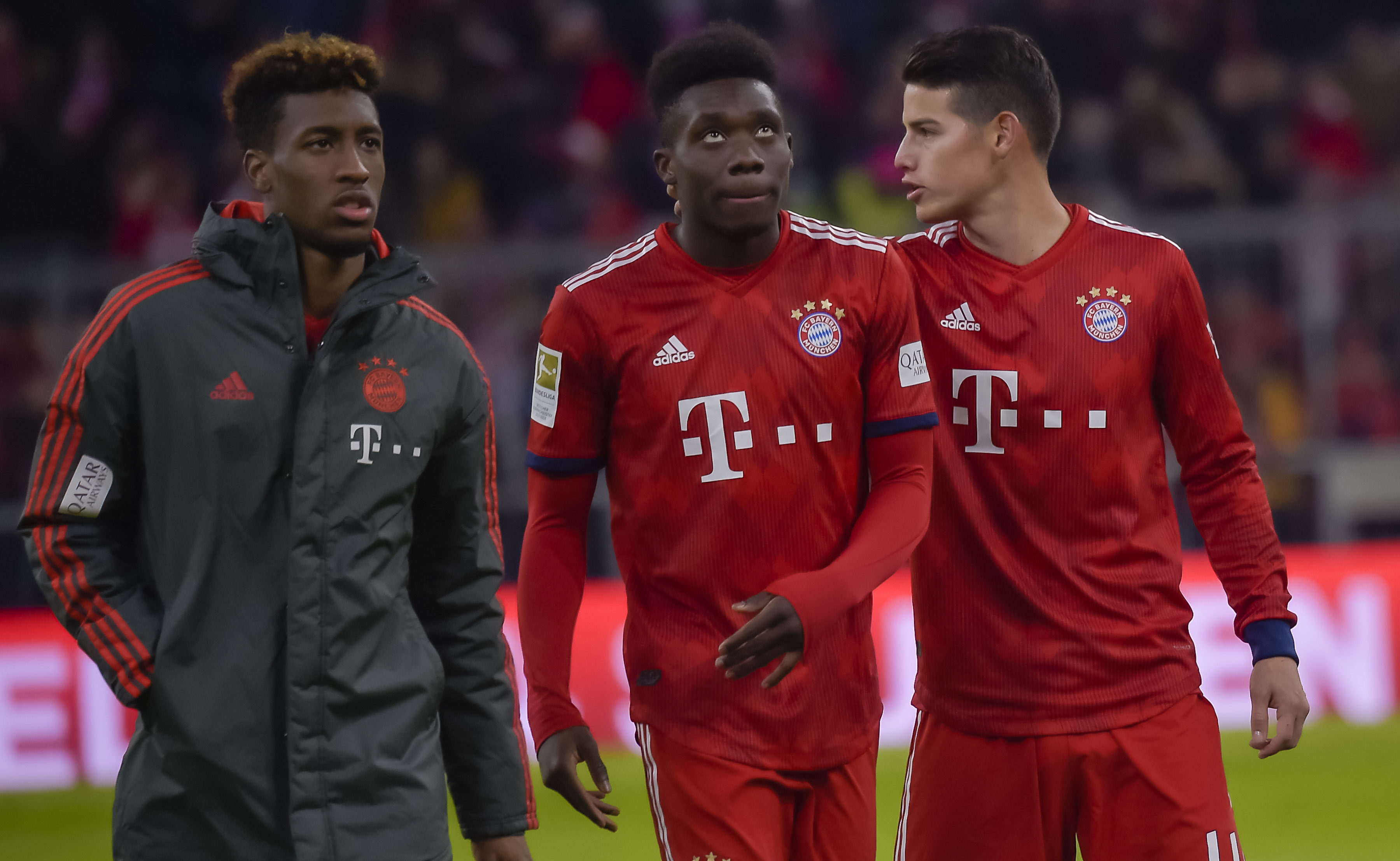 (L-R) Bayern Munich's French midfielder Kingsley Coman, Bayern Munich's Canadian midfielder Alphonso Davies and Bayern Munich's Columbian midfielder James Rodriguez are pictured during the German first division Bundesliga football match FC Bayern Munich vs VfB Stuttgart in the southern German city of Munich on January 27, 2019. (Photo by Guenter SCHIFFMANN / AFP)GUENTER SCHIFFMANN/AFP/Getty Images ** OUTS - ELSENT, FPG, CM - OUTS * NM, PH, VA if sourced by CT, LA or MoD **