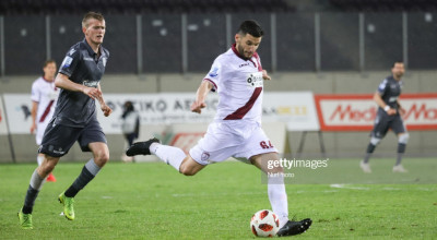Fatjon Andoni Albanian-Greek footballer #64 of FC AEL Larissa. F.C. AEL Athlitiki Enosi Larissa Football Club versus FC PAOK Thessaloniki 1-1 for the 28th round of Superleague Greece season 2018-2019, the main Greek championship at AEL FC Arena. PAOK scored at 55' with Dimitris Pelkas #10 and Larisa scored back at 64' with Nikola Jakimovski #13, postponing PAOK's champion title, for the first time after 1985. PAOK is undefeated this season in the superleague setting a historical record. (Photo by Nicolas Economou/NurPhoto via Getty Images)