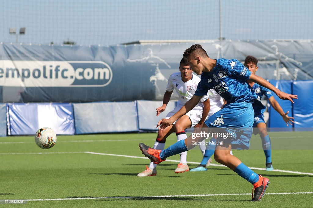 EMPOLI, ITALY - SEPTEMBER 20: Kristjan Asllani of Empoli FC U19 in action during the Serie A Primavera match between Empoli U19 and Cagliari U19 on September 20, 2019 in Empoli, Italy.  (Photo by Gabriele Maltinti/Getty Images)