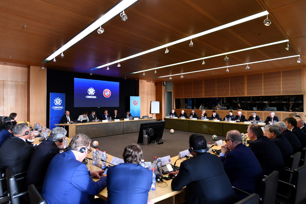 NYON, SWITZERLAND - FEBRUARY 12:  CONMEBOL and UEFA Initiatives meeting at the UEFA headquarters, the House of European Football on February 12, 2020 in Nyon, Switzerland. (Photo by Harold Cunningham - UEFA/UEFA via Getty Images)
