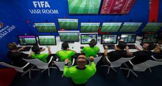 MOSCOW, RUSSIA - JUNE 21: Video Assistant Refereeing (VAR) Room at the Internatinal Broadcasting Centre on June 21, 2018 in Moscow, Russia. (Photo by Joosep Martinson - FIFA/FIFA via Getty Images)