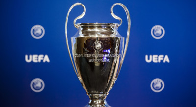 Mandatory Credit: Photo by VALENTIN FLAURAUD/EPA/REX/Shutterstock (8961122d) The UEFA Champions League trophy is pictured after the draw of the third qualifying round of the UEFA Champions League 2017/18 at the UEFA Headquarters, in Nyon, Switzerland, 14 July 2017. Draw of the third qualifying round of the UEFA Champions League 2017/18, Nyon, Switzerland - 14 Jul 2017