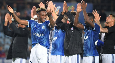 Strasbourg's French defender Mohamed Simakan (L) and his teammates celebrate at the end of the UEFA Europa League preliminary round football match between Strasbourg and Lokomotiv Plovdiv, at the Meinau stadium in Strasbourg, on August 15, 2019. (Photo by PATRICK HERTZOG / AFP)        (Photo credit should read PATRICK HERTZOG/AFP via Getty Images)
