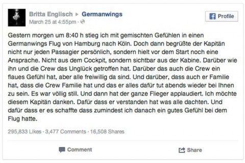 Postimi ne Facebook i pasagjeres qe shperndau fjalimin emocionues te pilotit te Germanwings