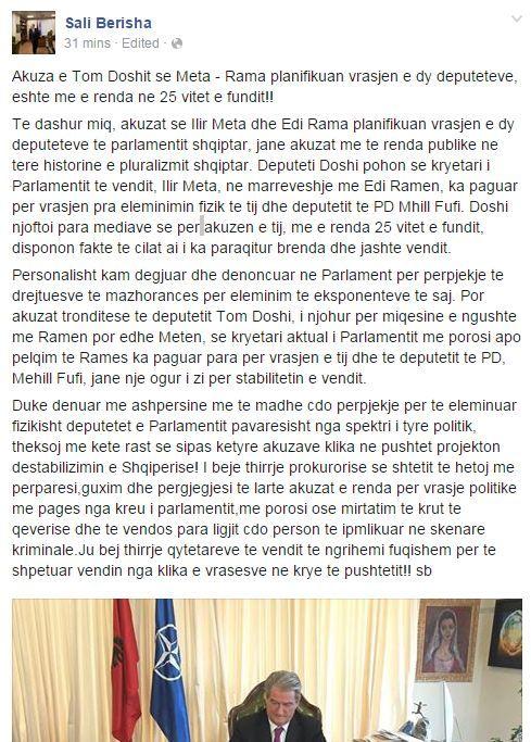 Statusi i Berishës në Facebook