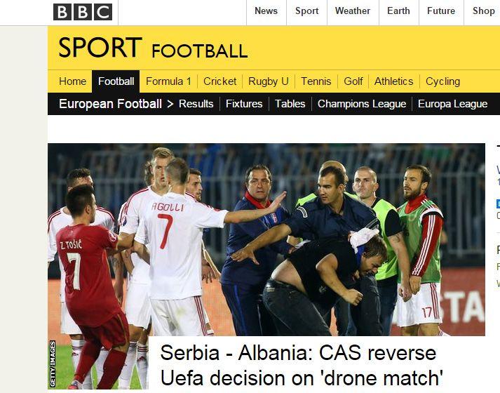 """Foto marre nga faqja e """"BBC Sport"""""""