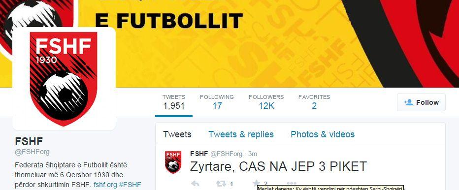 Postimi i FSHF ne Twitter