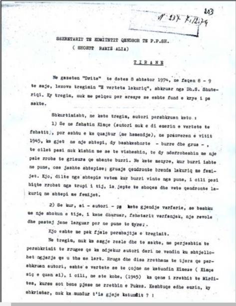 Faksimile e letrës së prokurorit Nikoll K. dërguar Ramiz Alisë