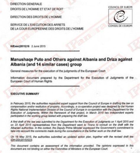 Faksimile e letrës së qeverisë për Këshillin e Europës