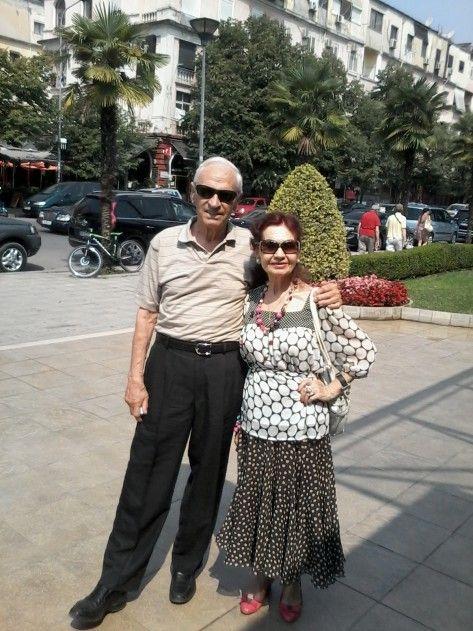 Mediha dhe Stavri Lubonja gjatë vizitës së fundit në Tiranë