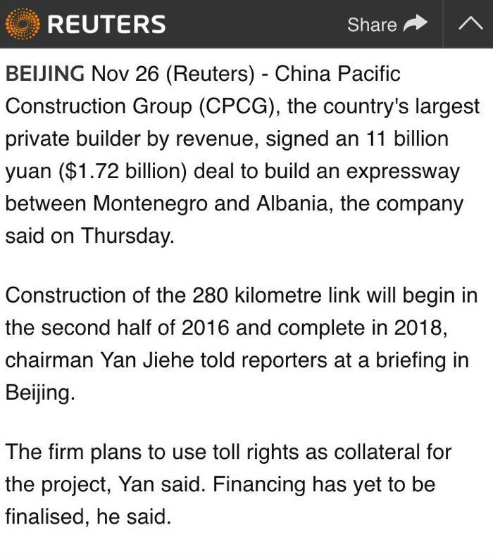 Kinezët do ndërtojnë autostradën Shqipëri- Mali i Zi 280 km