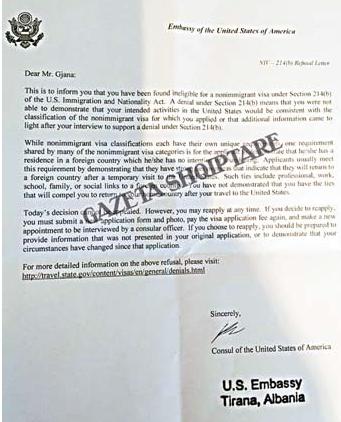 Letra e ambasades amerikane per Agron Gjanen