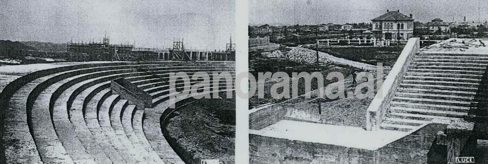 """1940. Dy pamje gjatë punimeve të ndërtimit të Stadiumit të sotëm """"Qemal Stafa"""""""