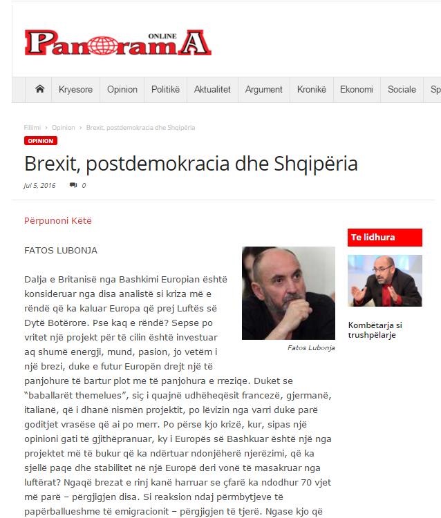 Shkrimi i botuar sot ne Gazeten Panorama dhe panorama.al