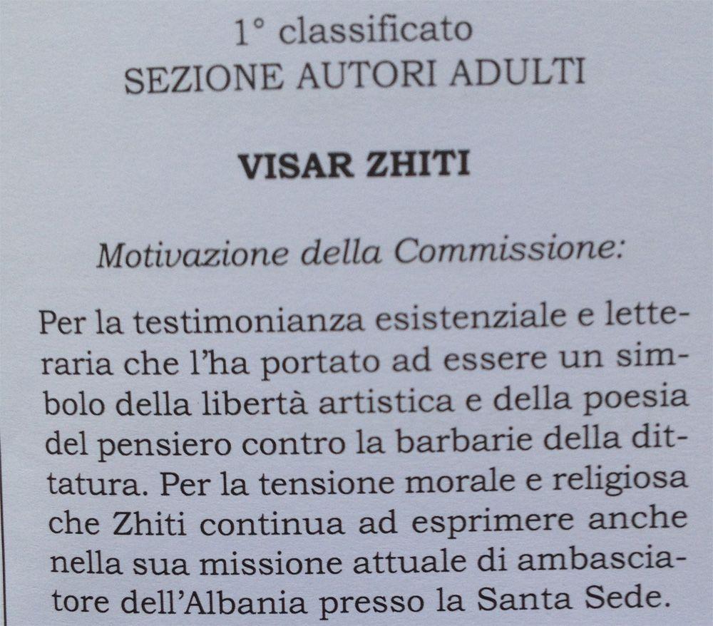 Motivacioni i çmimit për poetin Visar Zhiti