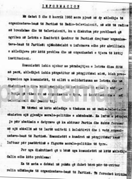 Faksimile të raportit që Leko Mako i dërgonte Komitetit Qendror të Partisë në vitin 1982