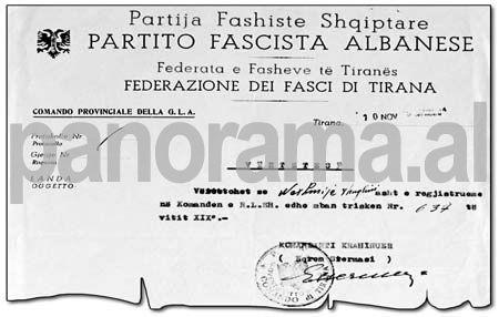 Faksimile e vërtetimit për anëtarësimin në Partinë Fashiste