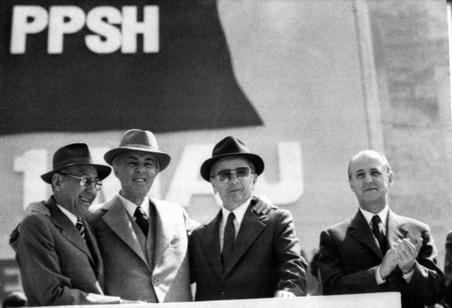 Hysni Kapo, Enver Hoxha, Mehmet Shehu and Ramiz Alia (far right). Gani Xhengo