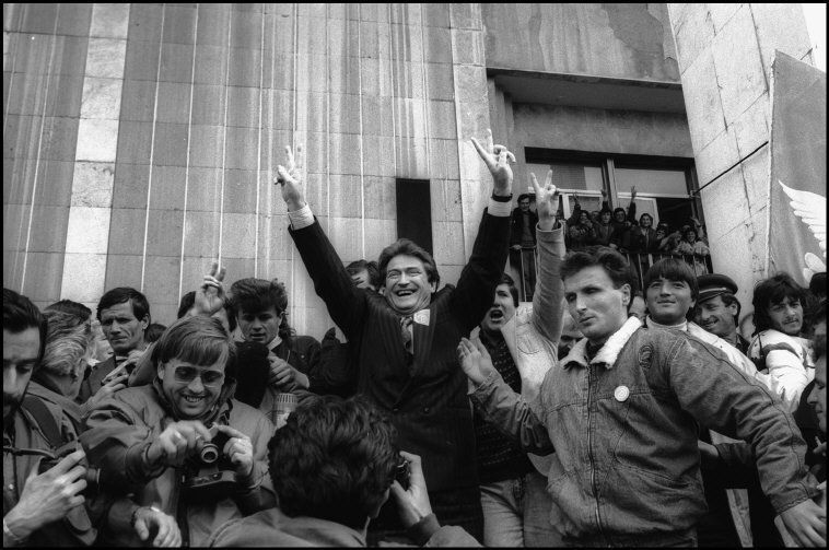 ALBANIA. Tirana. The leader of the Democratic party Sali Berisha during the Elections campaign. 1992.