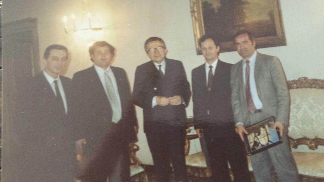 Dervishi, Hajdari, Andreoti, Çela dhe Çakulli gjatë një vizite në Itali