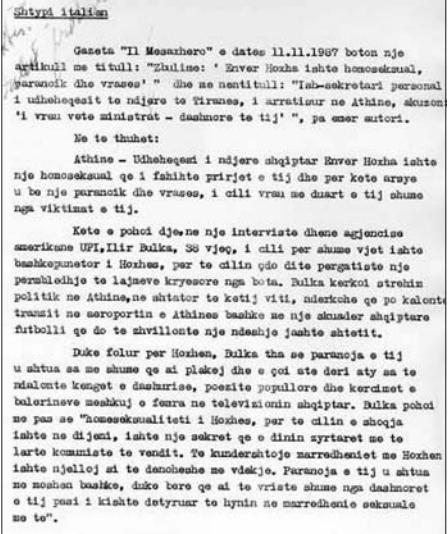 Faksimile e dokumentit të ATSH-së me dëshmitë e Ilirit
