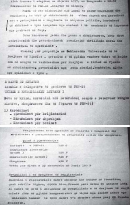 Faksimile të dokumenteve që tregojnë arsye të penalizimit të shkrimtarit për të shkuar në Paris, 1981