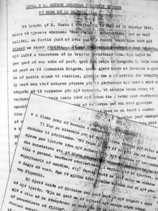 Letra e Mehmet Shehut për Enver Hoxhën, 1944
