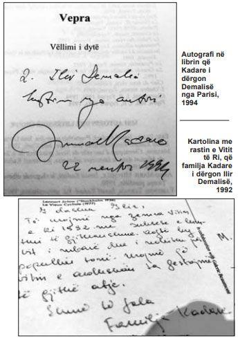 Autografi në librin që Kadare i dërgon Demalisë nga Parisi, 1994 / Kartolina me rastin e Vitit të Ri, që familja Kadare i dërgon Ilir Demalisë, 1992
