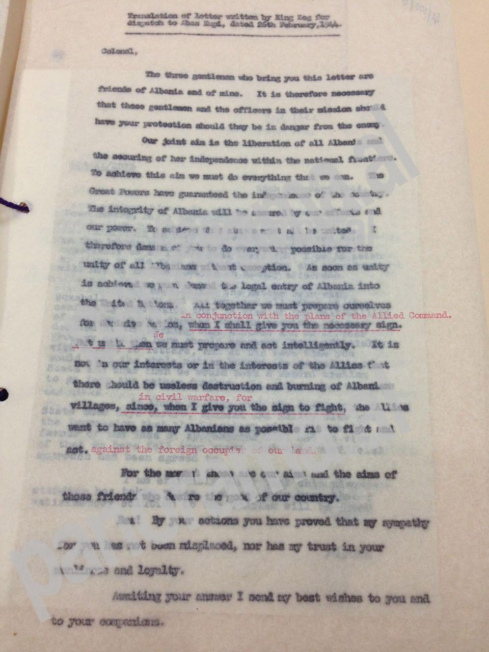 Faksimile e letrës së Zogut