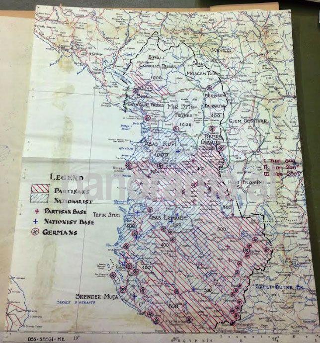 Hartë e zonave të influencës në fillim të pushtimit gjerman, hartuar nga oficerët britanikë