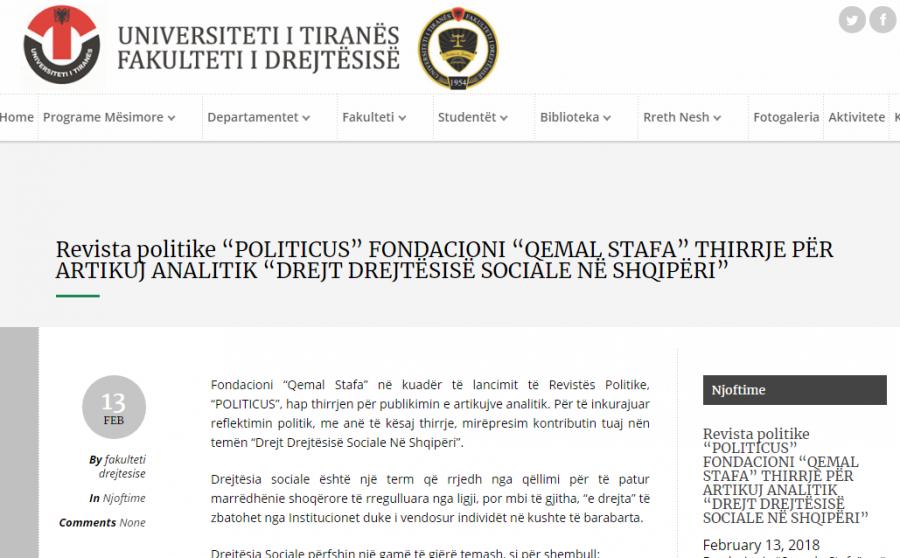 """Faqja e Fakultetit ku reklamohet aktiviteti i Fondacionit te PS """"Qemal Stafa"""""""