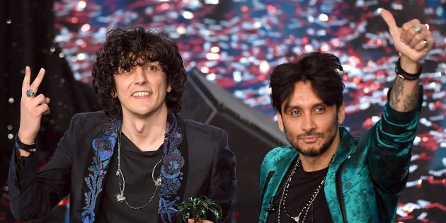 Italian singers Ermal Meta (L) and Fabrizio Moro (R) celebrate on stage after winning the 68th Sanremo Italian Song Festival in Sanremo during the 68th Sanremo Italian Song Festival at the Ariston theatre in Sanremo, Italy, 10 February 2018. The 68th edition of the television song contest runs from 06 to 10 February.   ANSA/CLAUDIO ONORATI