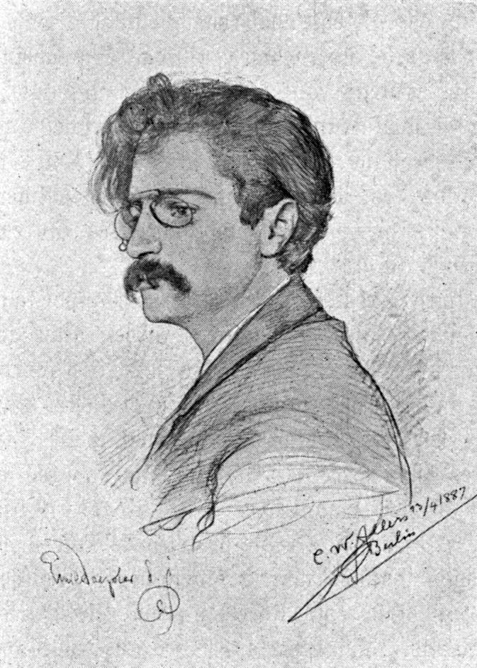 Skicë me portretin e Emil Doepler-it, në vitet e rinisë së tij, vizatuar nga kolegu e bashkëkohësi i tij, C. W. Allers në vitin 1877