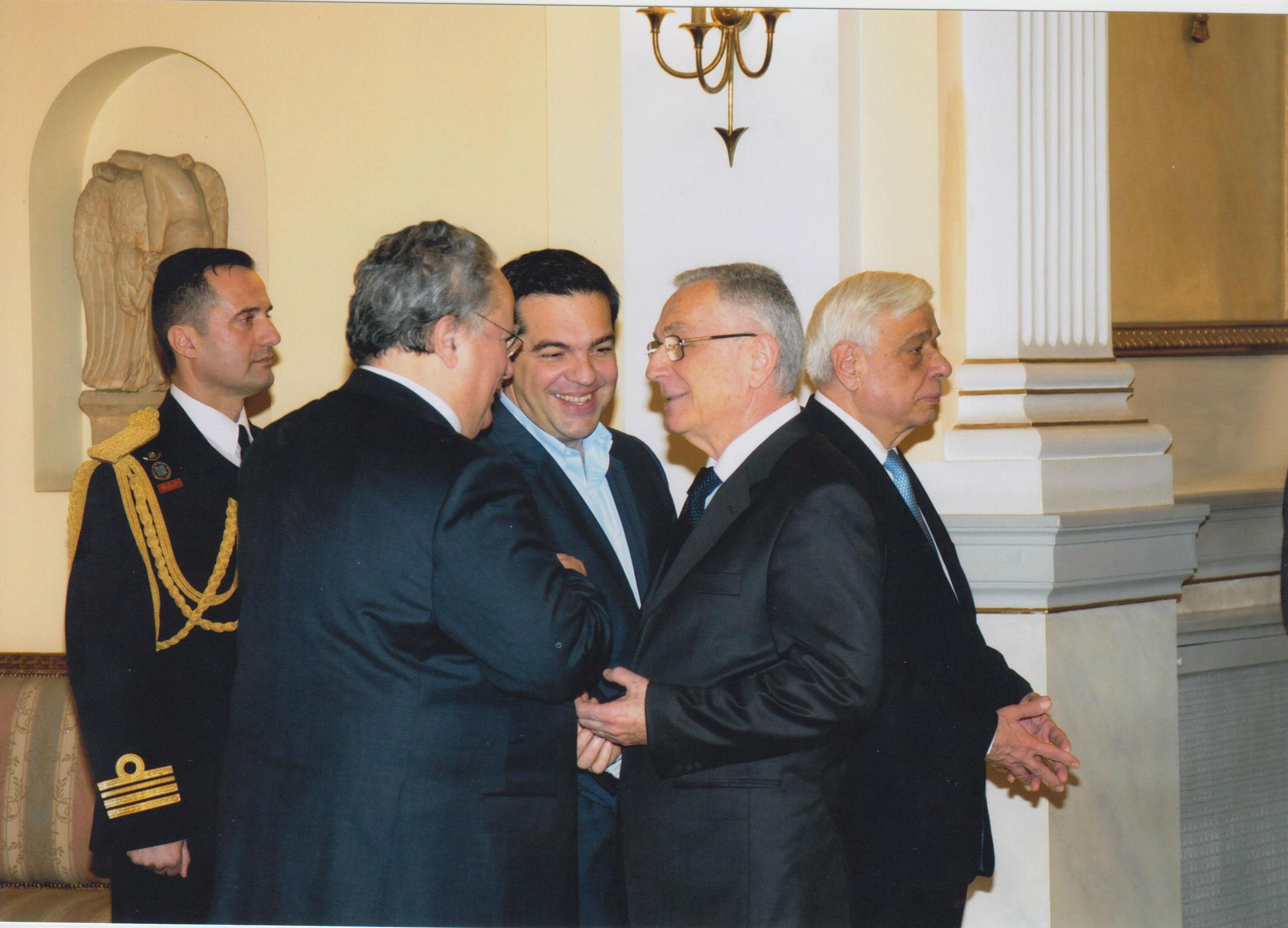 Ambasadori Dervishi, Ministri i Jashtëm grek Kotzias, kryeministri Tsipras dhe Presidenti Pavlopulos