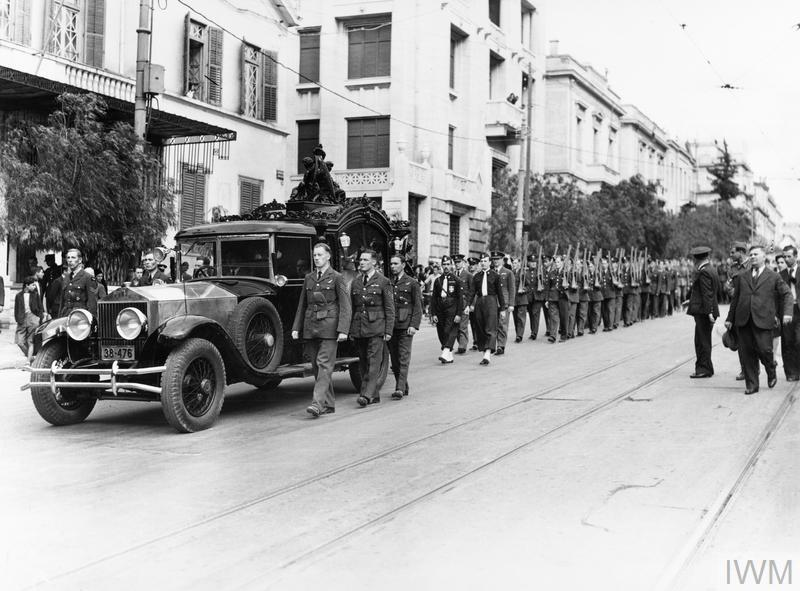 ROYAL AIR FORCE OPERATIONS OVER ALBANIA AND GREECE, 1940-1941. (ME(RAF) 292) The funeral cortege of Sergeant John Merifield passing down a street in Athens to the English Church, where he was interred. Merifield, an air gunner serving with No. 30 Squadron RAF, was the first RAF casualty of the campaign in Greece. He was killed during the RAF's first offensive action on 6 November 1940, when Bristol Blenheims of the Squadron were attacked by Italian fighters while bombing... Copyright: © IWM. Original Source: http://www.iwm.org.uk/collections/item/object/205208843
