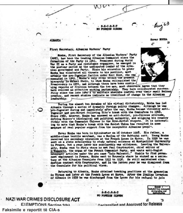 Faksimile e raportit të CIA-s