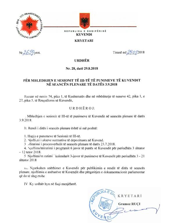 Urdhri i firmosur nga kryeparlamentari Ruçi